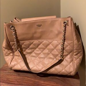 GUESS Tan Quilted & Gold Chain Strap Purse